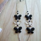 Plastic Butterfly Clear & Black w/ Chains include Earrings - Hand Made