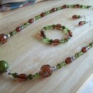 Green & Brown Crystals-Plastic Beads w/ Bracelet and Earrings - Hand Made