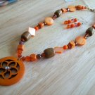 Orange Flower Pendant w/ Orange Crystals-Plastic-Wood & Earrings - Hand Made