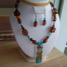 Blue/Brown Crystal Pendant w/ Blue/Brown Crystals-Plastic Beads & Earrings - Hand Made
