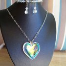 Litmus Heart Pendant in Chains w/ Litmus & Clear Crystals Bracelet & Earrings - Hand Made
