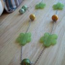 Green Plastic Flowers w/ Earrings - Hand Made