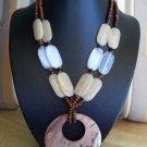 Brown Pendant Shell & Brown Wood Beads w/ Earrings