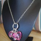 Pink Plastic Heart w/ Chains Necklace & Earrings - Hand Made