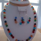 Multicolor Crystal-Plastic Beads w/ Bracelet & Round Earrings - Hand Made