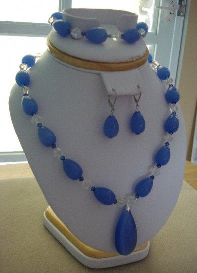 Blue Water Drop Crystal Pendant w/ Swarovski & Crystals Bracelet & Earrings - Hand Made