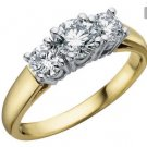 Diamond Engagement Anniversary Three Stone Ring 1/2 Carat (ctw) in 14K Yellow Gold