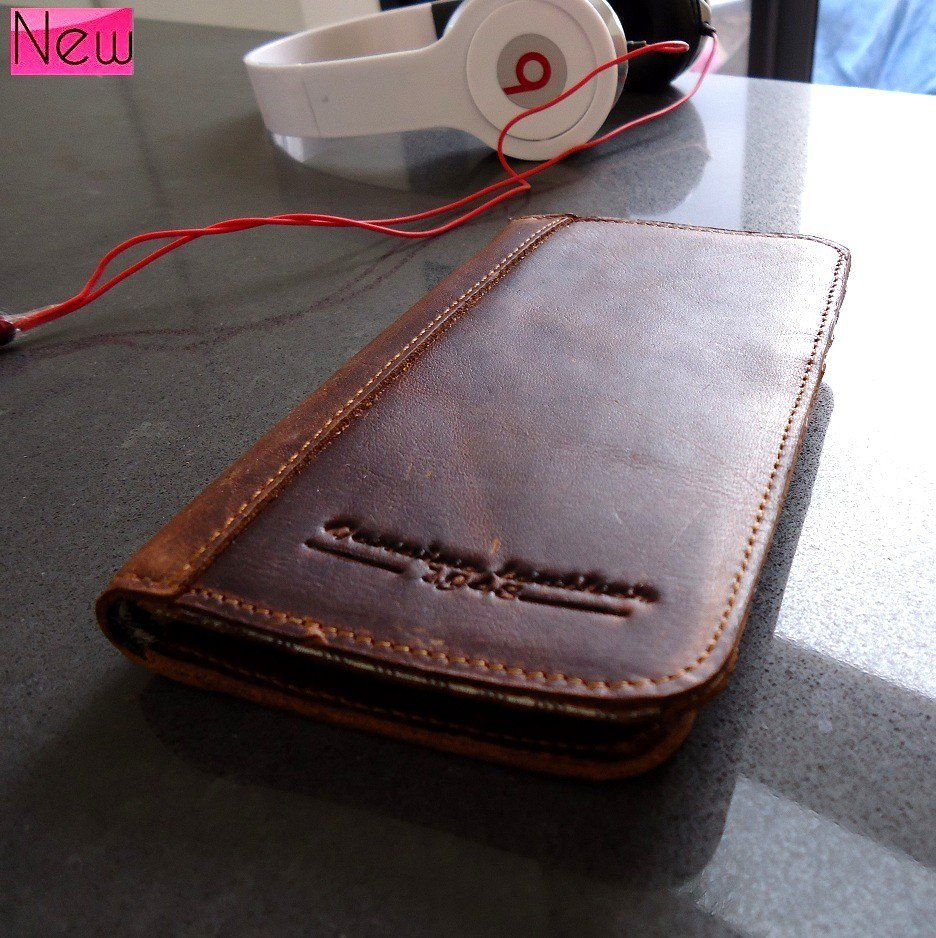 genuine natural vintage leather Case For Samsung Galaxy s3 book wallet handmade
