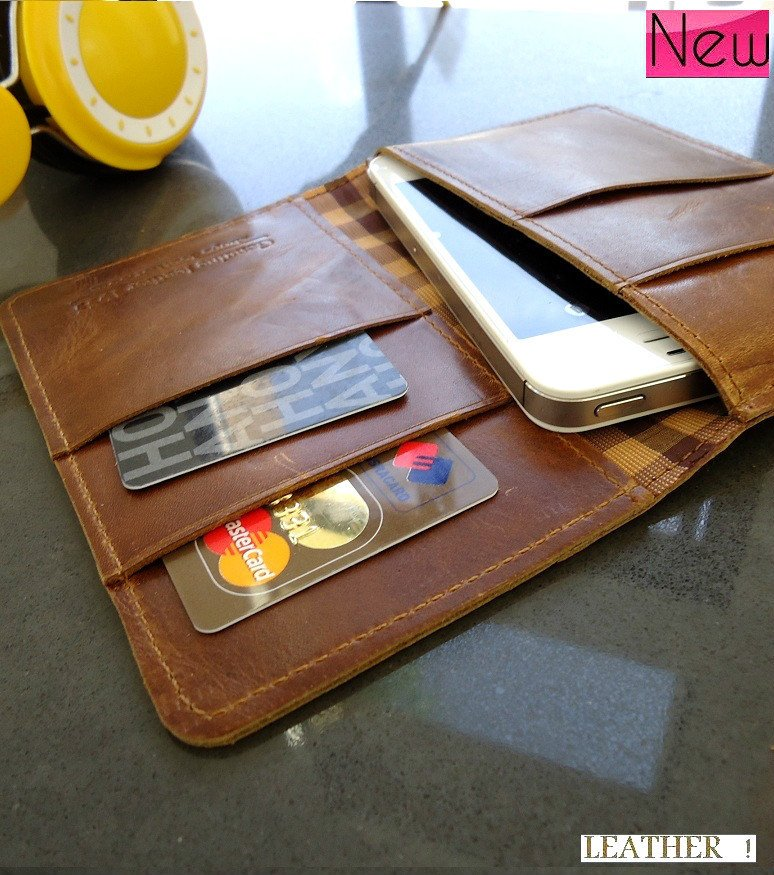 genuine natural leather case for iphone 5 S 4 4s 3 book wallet cover pouch handmade free shipping !