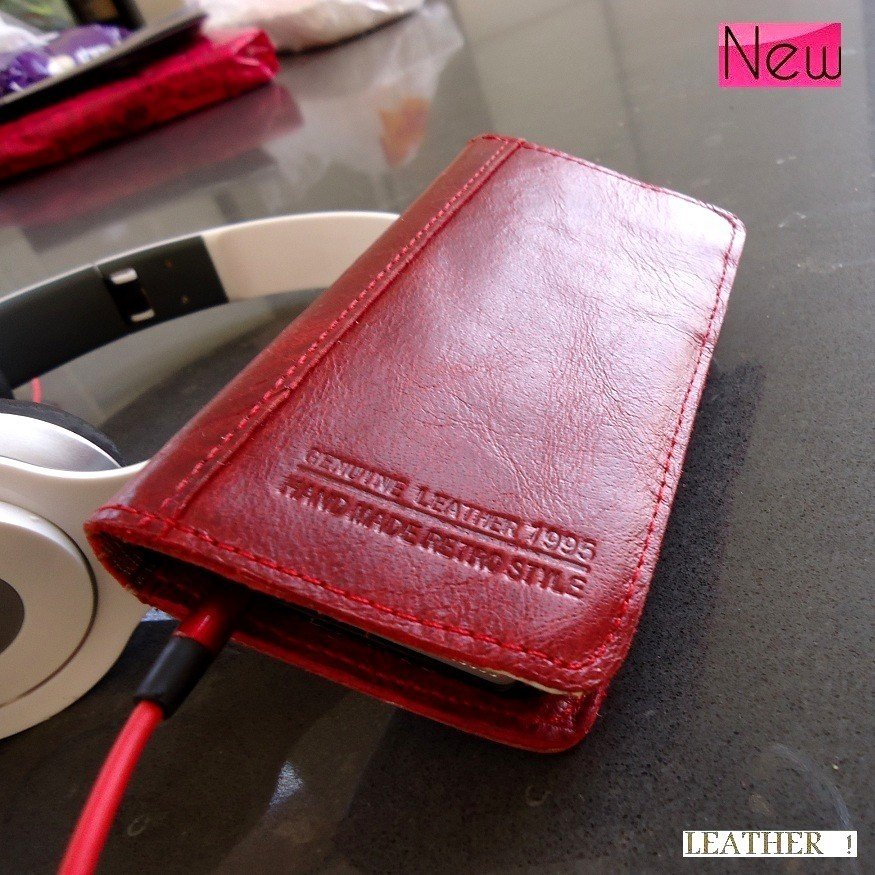 genuine real leather case for iphone 5 S cover book wallet stand holder crard wine free shipping