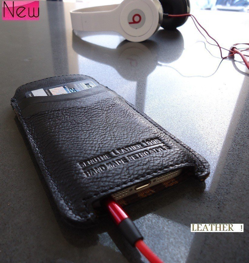 genuine real leather case fit for iphone 5s cover purse pull book black 3 slot id free shipping