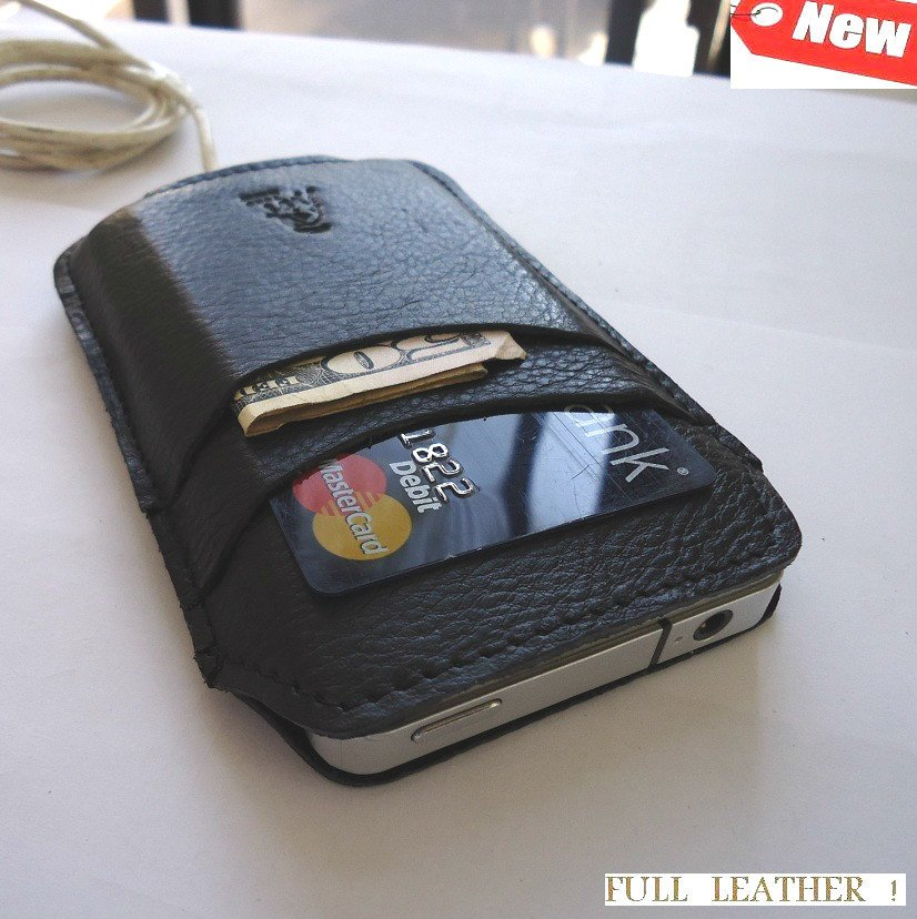 genuine real leather Sleeve Pouch case black fit iphone 4s s 4 book wallet TO free shipping !
