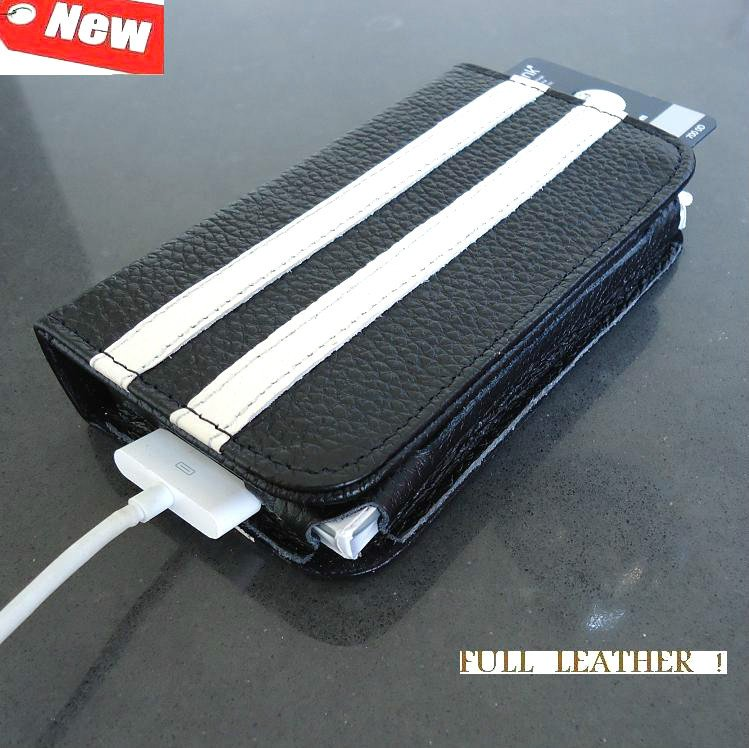 genuine REAL leather case fit iphone 4s book COVER 4 3 WALLET black slim sport s free shipping !