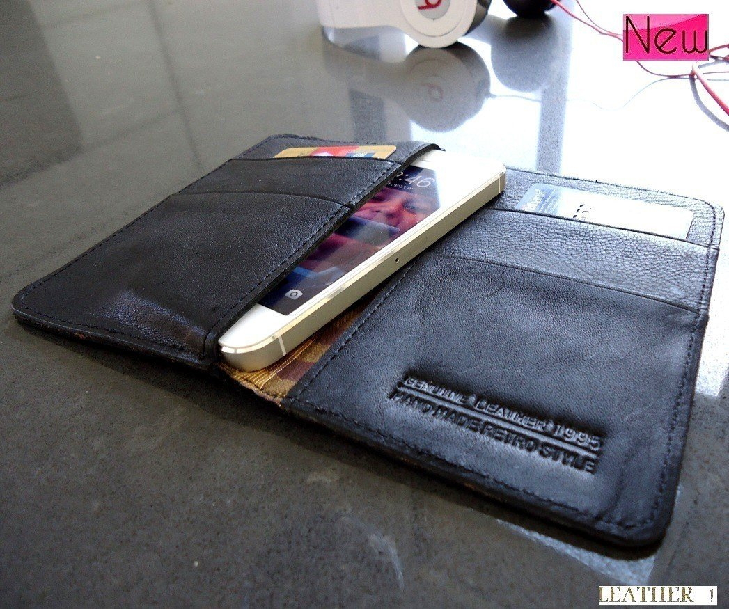 genuine vintage leather case for iphone 5 book wallet pouch 4s 4 3 handmade 3gs free shipping !