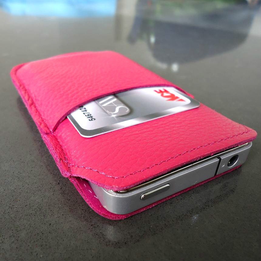 genuine leather case fit iphone 4s cover purse pouch s 4 pink 3g 4g woman style free shipping !