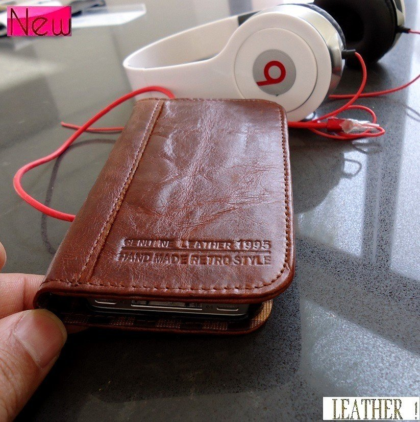 genuine real soft leather case for iphone 4s 4 cover book wallet stand holder is free shipping !