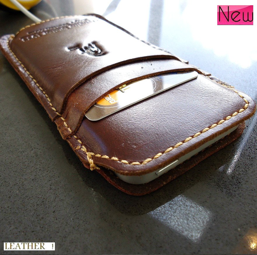 genuine real leather handmade case fit iphone 5 s cover slim purse RETRO style TOP free shipping