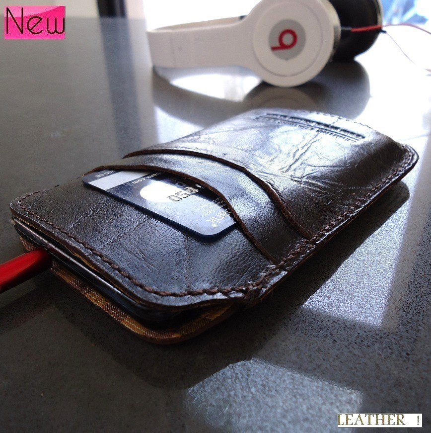 genuine real leather Case cover fit i 9000 pocket card Samsung GALAXY S II 2 s2