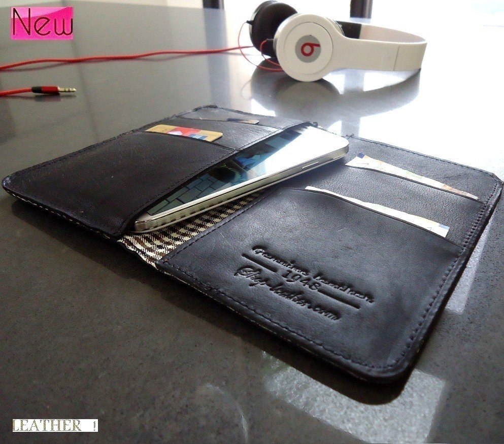 genuine real leather Case for Samsung Galaxy S4 s 4 book wallet handmade s3 3 ID