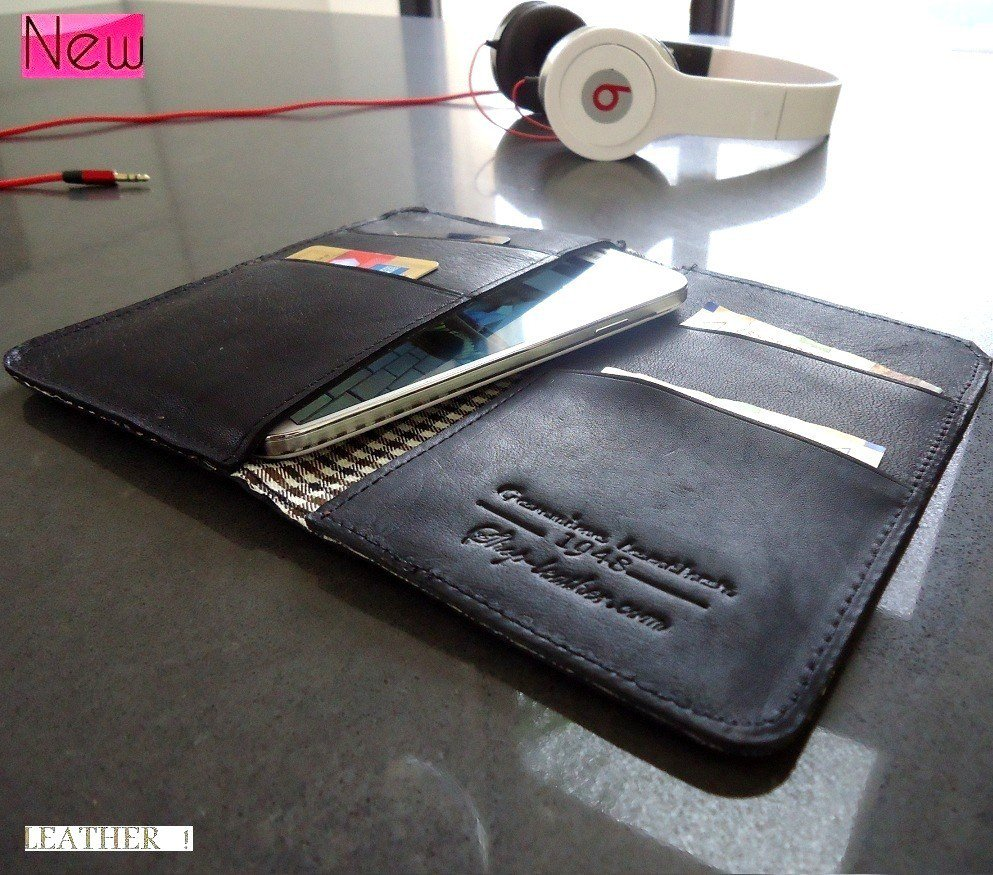 genuine real leather Case for HTC ONE and 4 Galaxy S4 book wallet handmade s3 m7