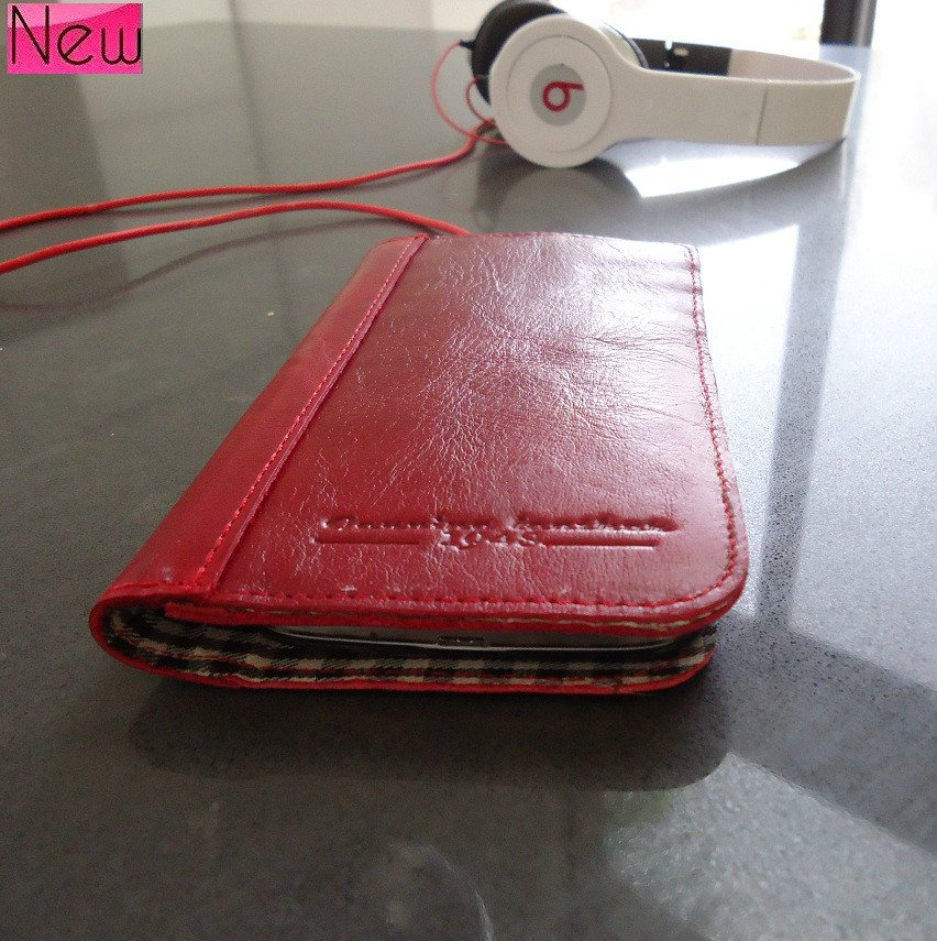 genuinevintage leather Case for Samsung Galaxy S4 s 4 book wallet handmade red
