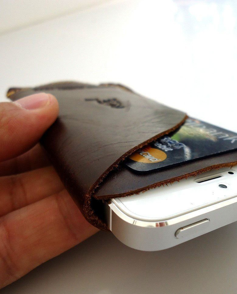 genuine real leather handmade case for iphone 4s cover slim purse RETRO s 4 3 RT free shipping !