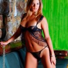 Mesh with applique bra shape baby doll and matching g-string