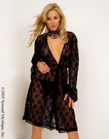 Floral stretchable lace robe