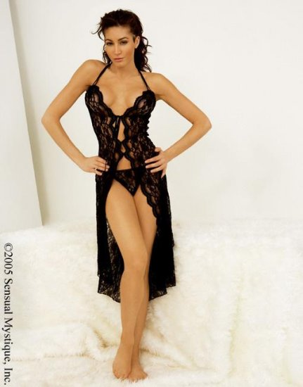 Long Lace Gown & G-String Set
