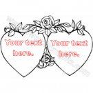 Two Hearts and a Rose Decal