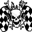 Skull and Checkered Flags Decal