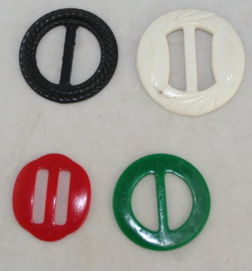 """4 Mixed Celluloid,Hard Plastic VINTAGE BUCKLES 1,1-1/8"""""""