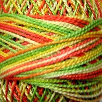 M8 Orange Kiwi Papaya  Pearl Cotton size 12  Valdani Variegated q2