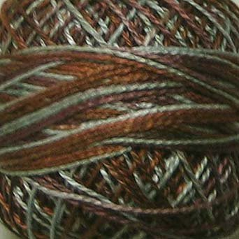 M73 Sage & Bark  Pearl Cotton size 8  Valdani Variegated q1
