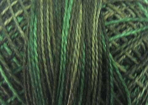O539  Evergreens  Pearl Cotton size 12  Valdani Overdyed 0539 q6