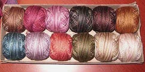 P0 Vintage Hues Sampler size 12 Pearl Cotton for Valdani q1