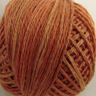 P6 Rusted Orange size 12 Overdyed Pearl Cotton Valdani Vintage Hues  q4