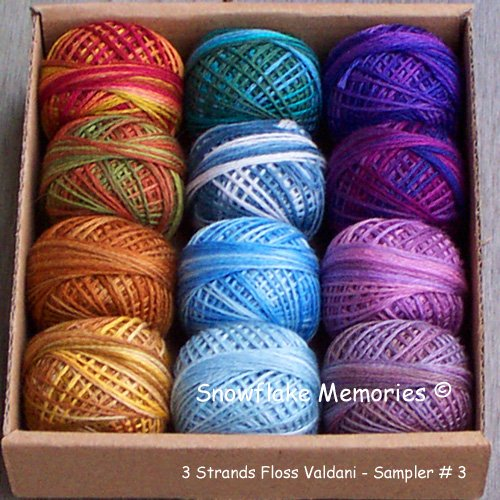 3 Strands Floss Valdani Sampler set 3 - 12x29yd balls Free Shipping US q1