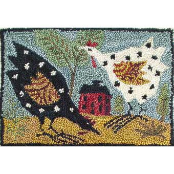 RP Chickens pattern for Punchneedle Embroidery by Hooked On Rugs q1