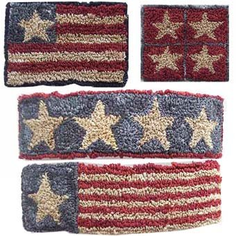 2 Patriotic Barrettes and Pins pattern for Punchneedle Embroidery by Hooked On Rugs q1