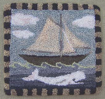 The White Whale pattern for Punchneedle Embroidery by Hooked On Rugs q1