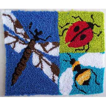 Three Bugs pattern for Punchneedle Embroidery by Hooked On Rugs q2