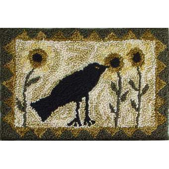 Sunflowers and Crow pattern for Punchneedle Embroidery by Hooked On Rugs q1