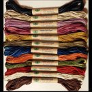 P0 Vintage Hue Sampler 12 colors - six strand cotton floss Valdani  free ship US CA q3