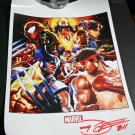 SDCC 2011 MvC 3 poster signed by the artist Dave Wilkins
