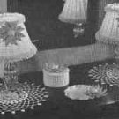Dresser Set - 4 Pieces including trincket tray, lampshade, jewelry box, and doily