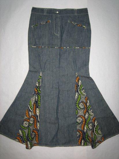 Extra flare long jeans skirt (og)