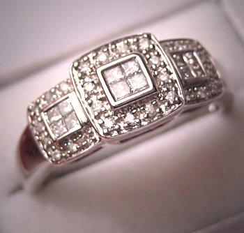 Vintage Diamond Ring Wedding Band White Gold Estate 14K