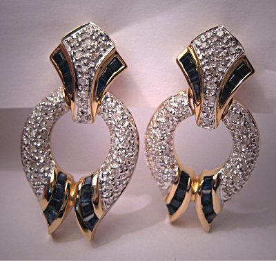 Estate Sapphire Diamond Earrings Fine Designer Jewelry
