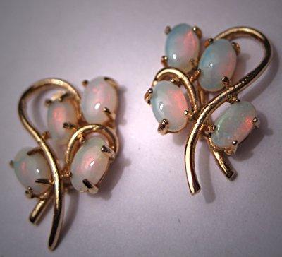 Vintage Opal Earrings Retro Art Deco Estate Jewelry